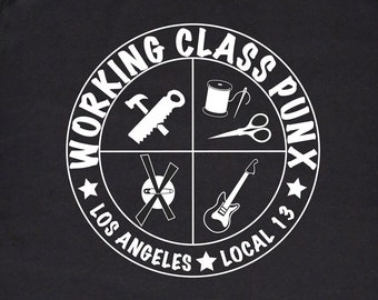 Punk Tshirt Working Class Punx Union T-shirt, Black and White Silkscreen, Punk Shirt, Rock T-Shirt, Working Class Punk