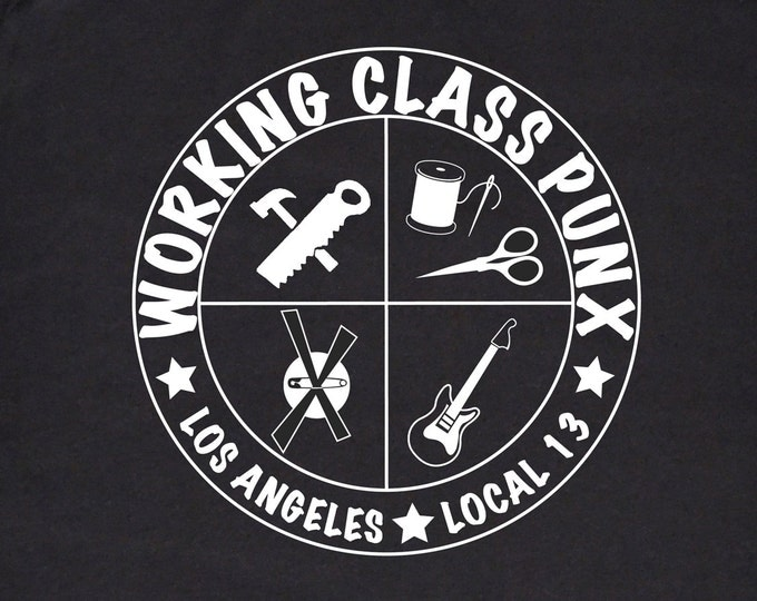 Working Class Punx Union T-shirt, Working Class Punk, Black and White Silkscreen, Punk Tee