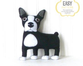 Boston Terrier Hand Sewing Pattern, Felt Dog Pattern, Stuffed Animal DIY, Instant Download