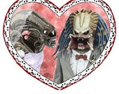 "ALIEN LOVES PREDATOR valentine, Valentine's Day, Greeting Card, 5.25"" x 5.25"", Blank inside, sci-fi, love,"