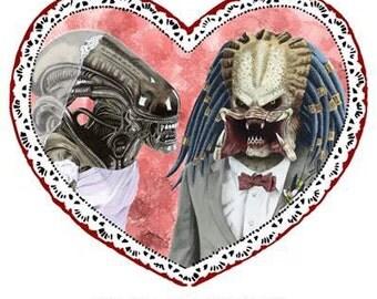 """ALIEN LOVES PREDATOR valentine, Valentine's Day, Greeting Card, 5.25"""" x 5.25"""", Blank inside, sci-fi, love,"""