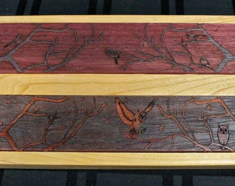 JUMBO Day/Night Weekly Pill Boxes, Owl and Birds, Purpleheart Top and Solid Cherry Hardwood Bottom, Paul Szewc, Masterpiece Laser