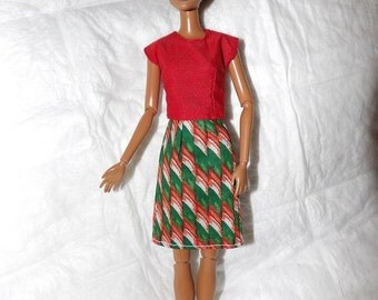 Red top & red, green, white ribbon candy print skirt for Fashion Dolls - ed940