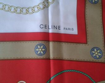 CELINE Silk Scarf/Red/Gift Idea/Vintage