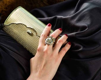 Clutch Evening Bag Purse with Mirror - Golden metal from 70s -