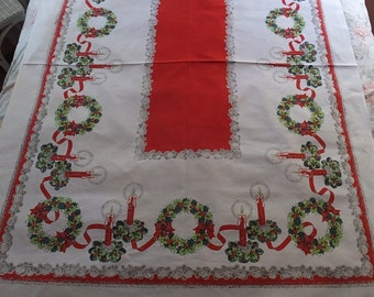 Vintage 1950's Christmas Holiday Wreath Holly Candles Pinecones Cotton Tablecloth