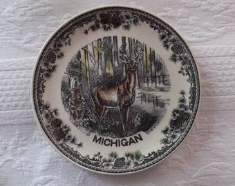 Vintage Cottage Cabin Inn Lodge Bed Breakfast Deer Woods Michigan State Souvenir Plate
