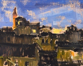 Twilight in Florence, Italy Oil Painting Original