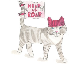Pussy cat in a pussyhat art print, womens march, hear us roar, resistance, kitty hat, pink, watercolor painting, ink drawing, sketchbook art
