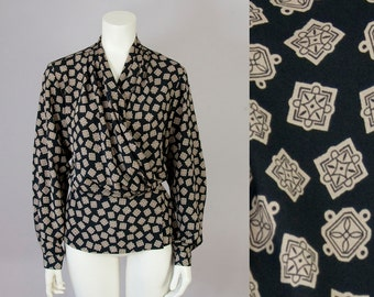 80s Vintage Black and Tan Print Pleated Wrap Blouse (L; 12)