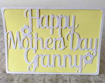 Mothers Day Card For Granny Personalised Cut Card Custom Card Any name - Choice of 10 colours - Free Worldwide Shipping