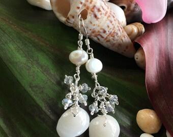 Kauai Puka Shell Earrings, Pearl Cluster Earrings