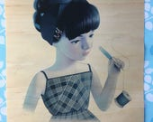 "11x14"" print on maple wood of ""girl and seam rippers"" by Sean Mahan"