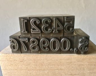 Vintage Letterpress Numbers with Punctuation for Printing and Stamping