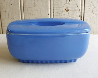 Vintage Hall Refrigerator DIsh with Lid - Periwinkle Blue - Montgomery Ward - Number 5119 -  1930s 1940s - Vintage Kitchen Storage