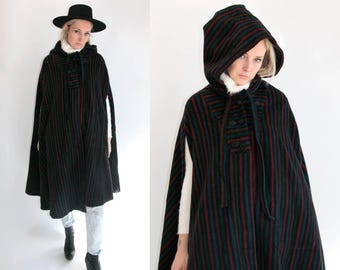 Vintage 70's Thick Striped Wool Cape with Hood LeVine's, Inc. Retro/Wild/High Fashion One Size
