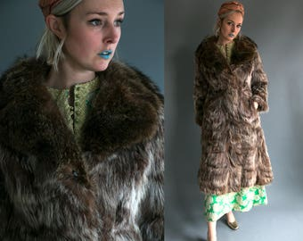 Vintage 50's Full Length Racoon Fur Coat by Boston Store Women's Size Medium Large Retro/High Fashion/MCM