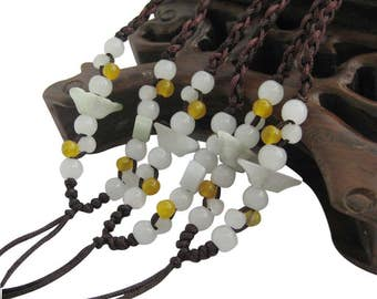 3Pcs Natural Jadeite Gem Beads Silk Cord For Pendant  ja663