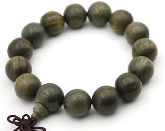 15mm x 15mm Green Sandalwood Tibetan Buddhist Prayer Beads Bracelet Mala  LT001