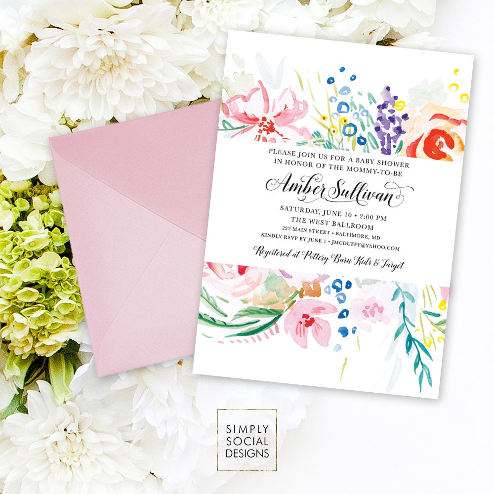 Floral Baby Shower Invitation - Flowers Multi Color Modern ...