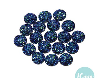 10mm Metallic Blue Peacock Faux Druzy Crystal Clusters Cabochons sfc0119