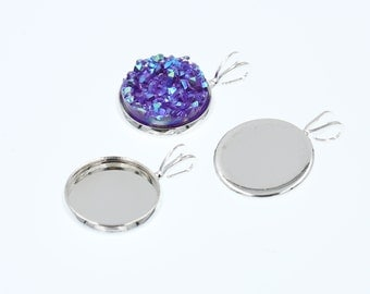 10pcs of 12mm Shiny Silver Tone Charm Drop Pendant Tray Bezel Blanks Settings, Made with Brass