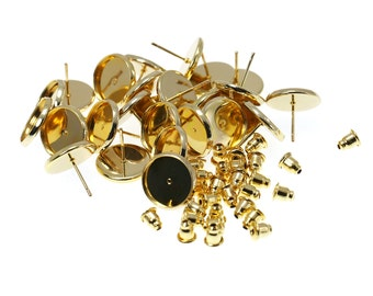 8mm Gold Tone Brass Earring Tray Settings, Earring Backs INCLUDED, Very beautiful in person