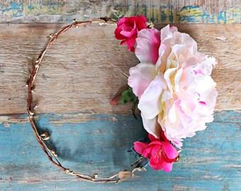 Flower Halo, gold pink white blue, crown, wedding, bridal, halo, summer, bride, festival, hair accessory, wreath, beach wedding, destination
