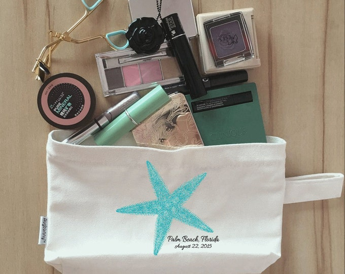 Bridal Party Makeup Bag, Clutch, Canvas, Bridesmaid Makeup Pouch, Wristlet, Customize Starfish