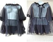 1960s Babydoll Gown + Panty Set. Nylon Chiffon Babydoll Nightie. Ruffled Panties. Black Babydoll Gown & Pany Set. Sheer Babydoll Nightie. XL