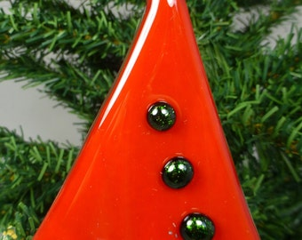 Fused Glass Christmas Tree Decoration - Contemporary Style - Red with Green Aventurine Sparkly Baubles