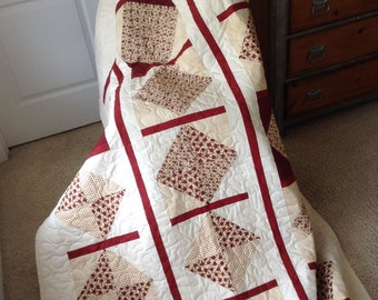 "Beige/Burgundy Lap Quilt- 54"" x 74.5"" - Lizzie's Legacy Collection/Moda -Contemporary/Modern Quilt - Ready to Ship"