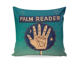 READY TO SHIP | Palm Reader Neon Sign Pillow Cover | Kitschy Home Decor | Mid Century Modern Decor | Travel Trailer Pillow Cover