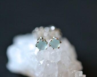 3mm aqua chalcedony stud earrings