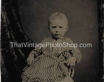 Tintype Photograph  of a Cute little Toddler