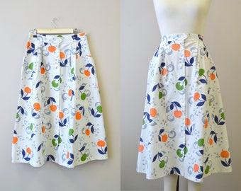 1950s Playgirl Cotton Pique Cherry Print Skirt