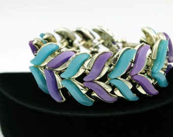 Chunky Coro Thermoset Bracelet in Purple and Teal