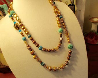 """Grand 56"""" Long Necklace: Genuine Carved TURQUOISE, Marbled Turquoise, Brown & Gold Pearls, Turquoise Jade, Swarovski Crystals, TOPAZ Clasp"""