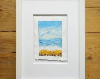 Clouds on the Horizon - An original mixed media sketch on handmade paper FRAMED