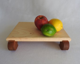 Wood Cutting Board Footed Countertop Maple and Brazilian Cherry Artisan Butcher Block