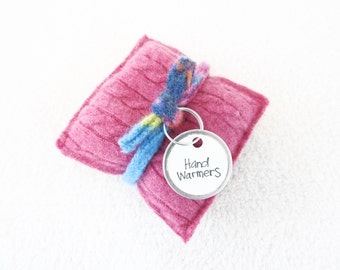 Cashmere Hand Warmers BRIGHT PINK Cabled Felted Cashmere Rice Bag Handwarmers Gift for Kids Coworker Teacher Stocking Stuffer by WormeWoole
