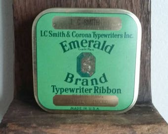 Vintage LC Smith & Corona Square Green Emerald Brand Typewriter Ribbon Tin