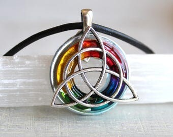 rainbow triquetra necklace, celtic jewelry, mens necklace, irish jewelry, endless knot, celtic knot, trinity knot, mens jewelry, mens gift