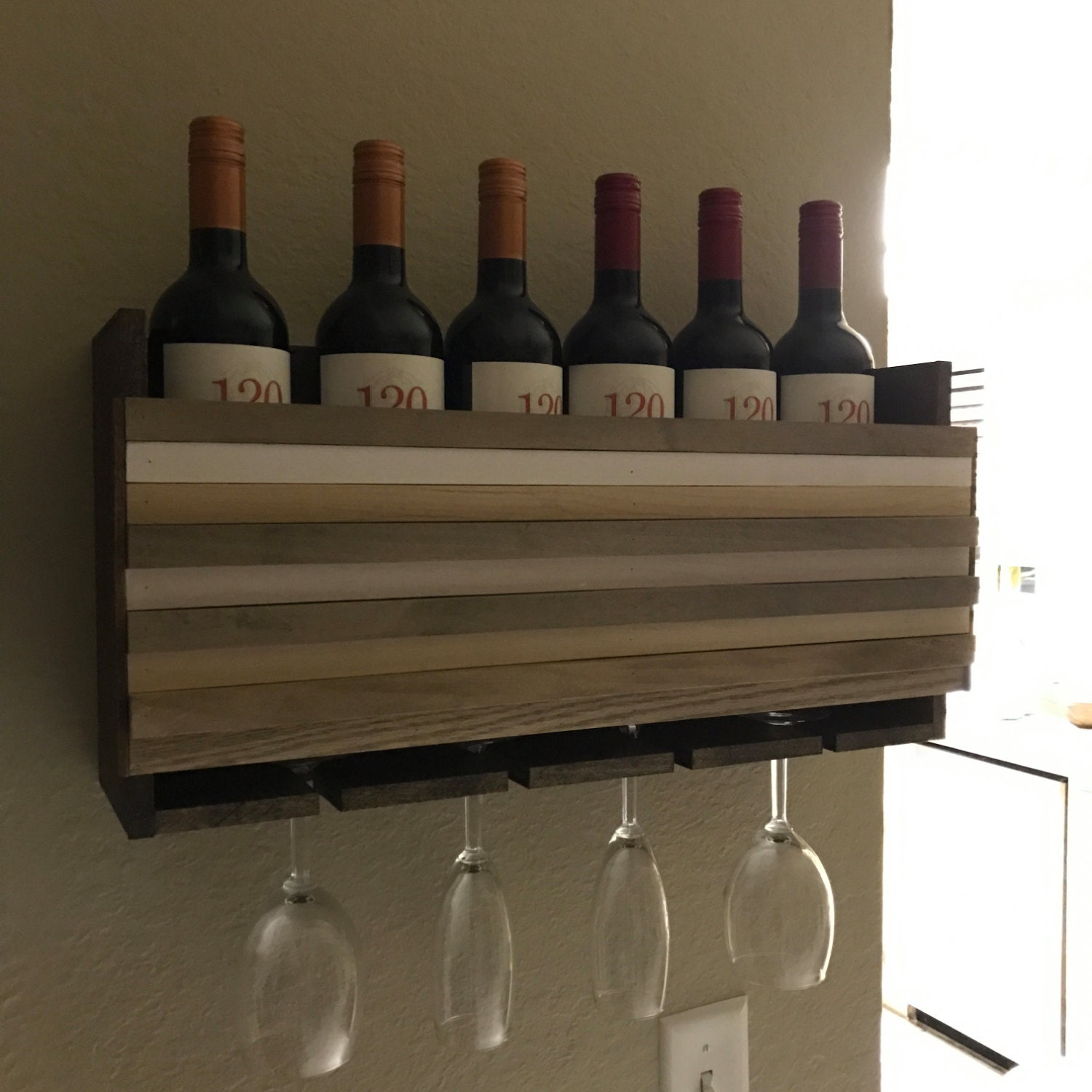 Hanging wine rack with glass holder - Wall Mounted Wine Rack Holder Wine Glass Holder Housewarming Gift Wine Rack Wood Wall Art Organizer Wedding Gift