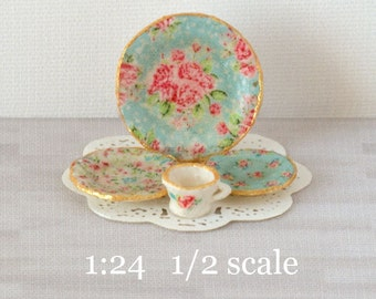1:24 Blue Chintz Decals for Miniature Dishes