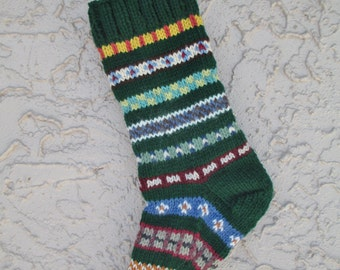 Christmas stocking hand knit in forest green with FREE U.S. SHIPPING