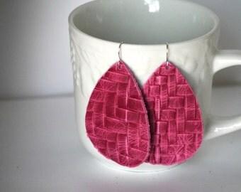 Pink Braided Braid Basketweave Leather Teardrop Drop Earrings