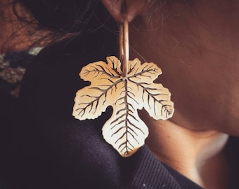 Fig Leaf Ear Weights 10g 10 Gauge Weights for Gauged Ears Tunnels Plugs Stretched Ear Hangers Leaf Fig Leaf Earring Ear Weights Nature