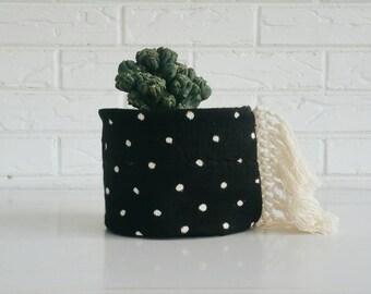 Tribal Mudcloth Planter  - Fabric Plant Cover - Modern Boho Decor