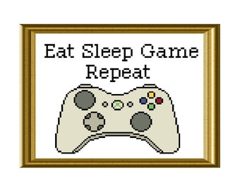 Eat Sleep Game Repeat Xbox Controller Funny Cross Stitch Pattern Video Game Quote